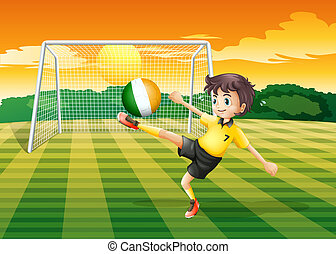 A girl at the field using the ball with the flag of Ireland