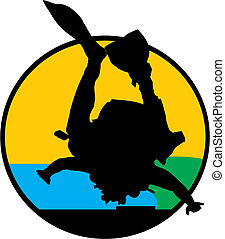 seal skydiving - vector of navy seal, jumping from airplane