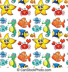 Seamless design with sea creatures - Illustration of the...