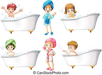 Children taking a bath - Illustration of the children taking...