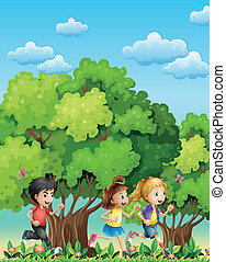 Three kids running outdoor - Illustration of the three kids...