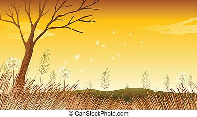 A landscape with a dying tree - Illustration of a landscape...