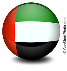 A ball with the flag of the United Arab Emirates