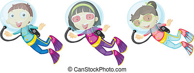 Three scuba divers - Illustration of the three scuba divers...