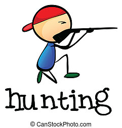 A stickman hunting - Illustration of a stickman hunting on a...