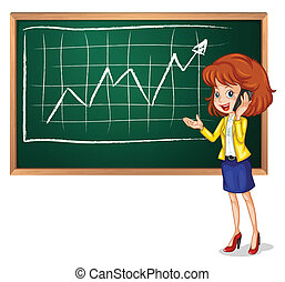 A girl using her phone in front of the board - Illustration...