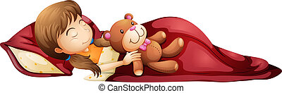 A young girl sleeping soundly with her toy - Illustration of...