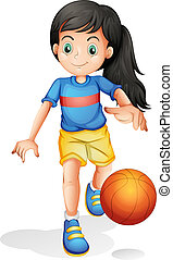 A little girl playing basketball - Illustration of a little...