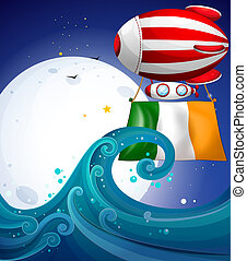 A floating balloon with the flag of Ireland - Illustration...