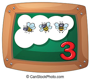 A blackboard with three bees