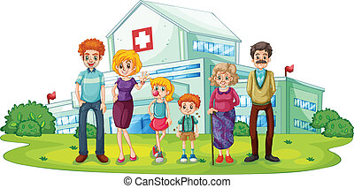 A big family near the hospital - Illustration of a big...