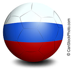 A soccer ball designed with the Russian flag