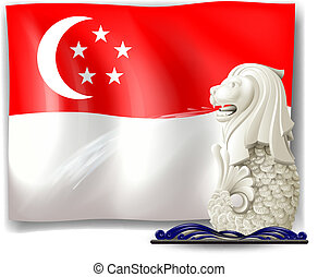 The statue of Merlion and the flag of Singapore -...