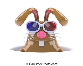3d Surprise 3d bunny - 3d render of a rabbit wearing 3d...