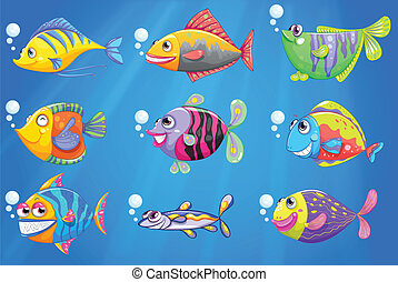 A sea with a school of colourful fishes