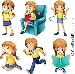 Different activities of a young girl - Illustration of the...