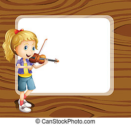 A talented girl with an empty template - Illustration of a...
