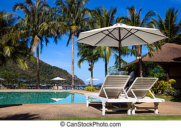 Tropical beach in El Nido, Philippines - Swimming pool near...