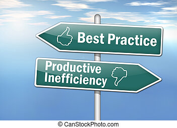 "Signpost ""Best Practice vs. Productive Inefficiency"""