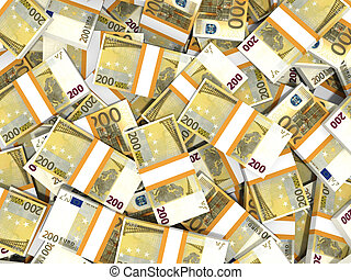 Euro banknotes background. - Two hundred euro banknotes...