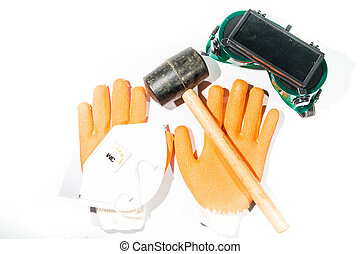 Hammer, gloves and dust mask