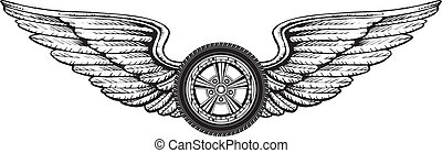 Wheel With Wings - Illustration of a wheel with wings...