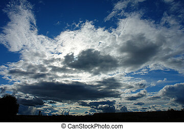 clouds, rural landscape;