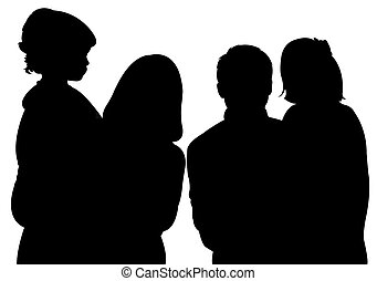 family with two daughters, silhouette