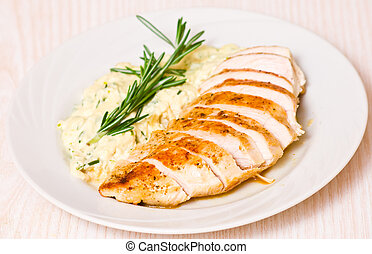 chicken breast with garnish