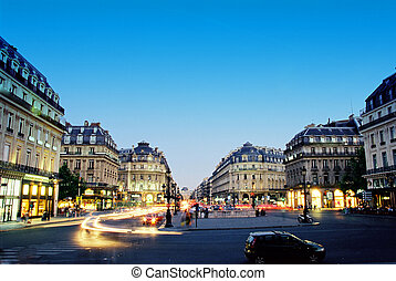 Center of Paris in night - Night scene near Grand Opera in...