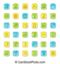 Summer bright icons on white background