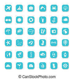 Summer blue icons on a white background