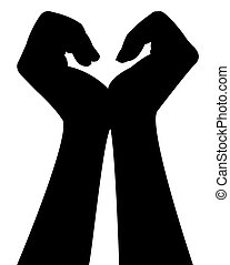a pair hands silhouette vector
