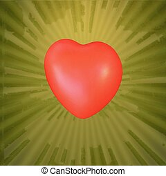 Red heart  on abstract green yellow  universe background