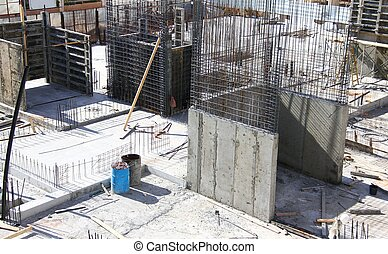Concrete work on the construction site