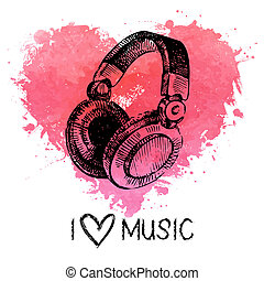 Music background with splash watercolor heart and sketch...