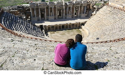 ancient city of Hierapolis 15 - couple watching 3rd century...
