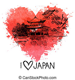 Hand drawn sketch Japanese illustration with splash...