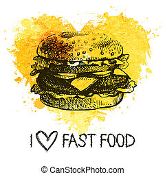 Fast food background with splash watercolor heart. Hand...