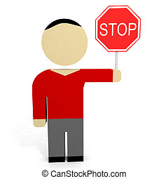 3D man hold stop sign. 3D illustration.