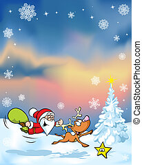 vector christmas background with funny santa claus reindeer,...