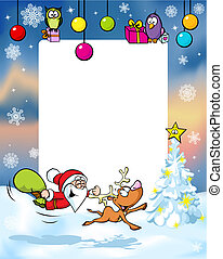 vector christmas frame with funny santa claus reindeer, xmas...