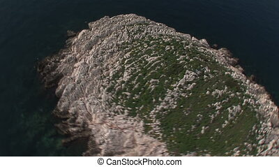 Aerial view of a small island on the Croatian coast, close...