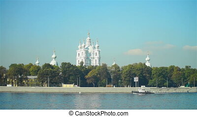 Smolny cathedral on Neva river quay - SAINT PETERSBURG,...