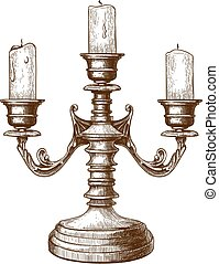 engraving of candlestick - vector illustration of antique...