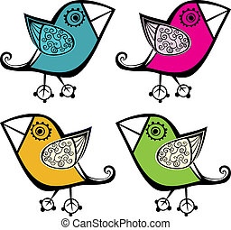 set of four cute bird, elements for your design