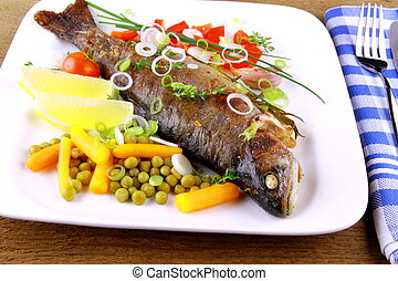 Grilled trout with quite fine vegetables, cutlery - Grilled...