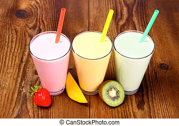 Strawberry, mango and kiwi soft drink, smoothie, top view