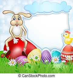 Easter card with bunny and chicken over egg background