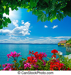 lake constance in summer - beautiful view over the Lake...